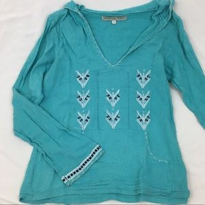 Tops - [Vintage] Turquoise Hooded Pullover Tribal Tunic